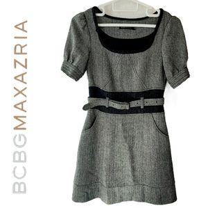 Vintage BCBGMAXAZRIA Wool A-line Belted Dress